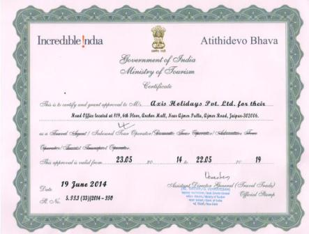 Certified from Ministry of Tourism